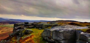 the view from the crags of Stanage edge.